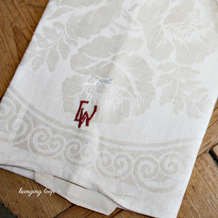 Antique French Cream Linen Floral Damask Tea Towel C W
