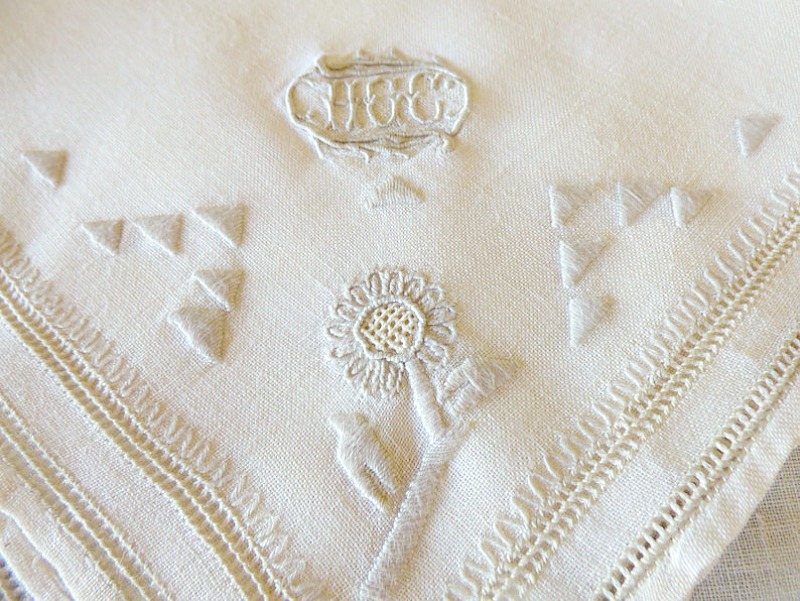 Irish Linen Napkins with Madeira Embroidered Triple Monogram Set of 6