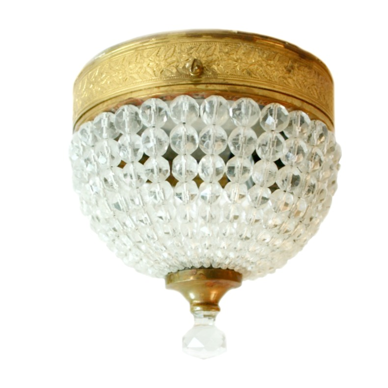 Vintage Crystal Flush Mount Ceiling Fixture