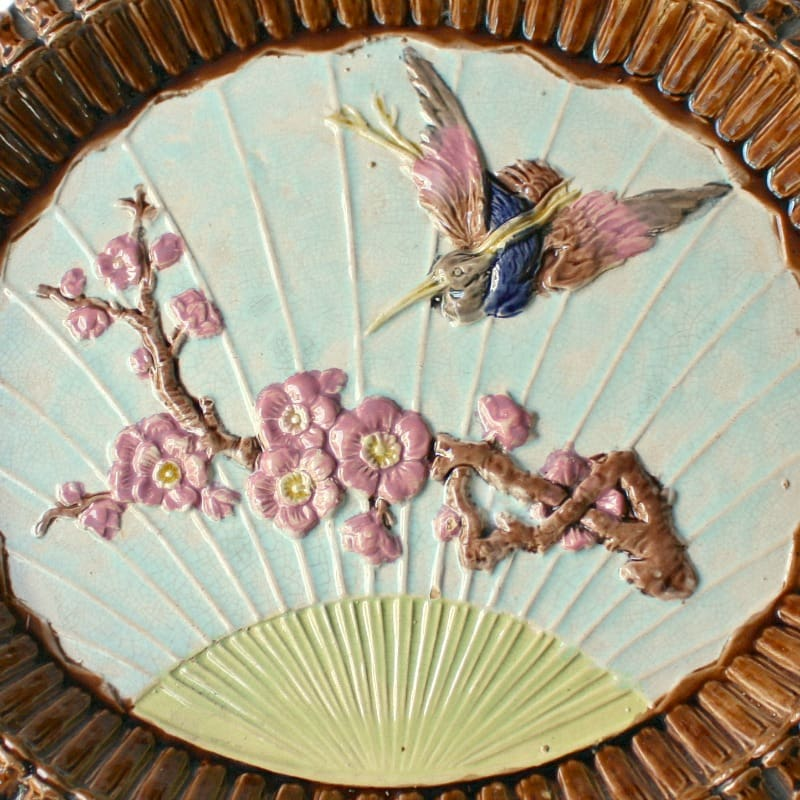 Antique Aesthetic Majolica Platter Bread Plate with Crane