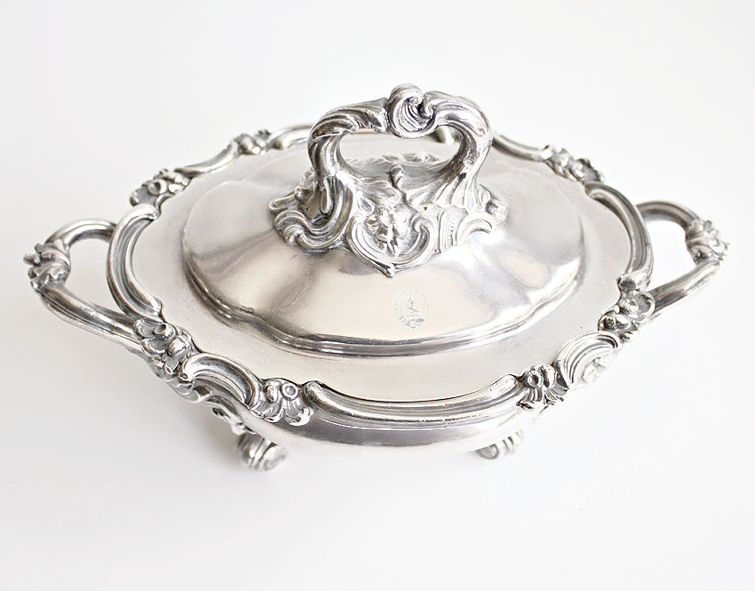 Antique Silverplate Footed Tureen with Hand Engraved Armorial