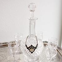 English Cut Crystal Liqueur Carafe with Sherry Label