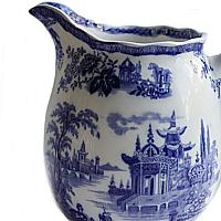Antique English Blue and White Pitcher