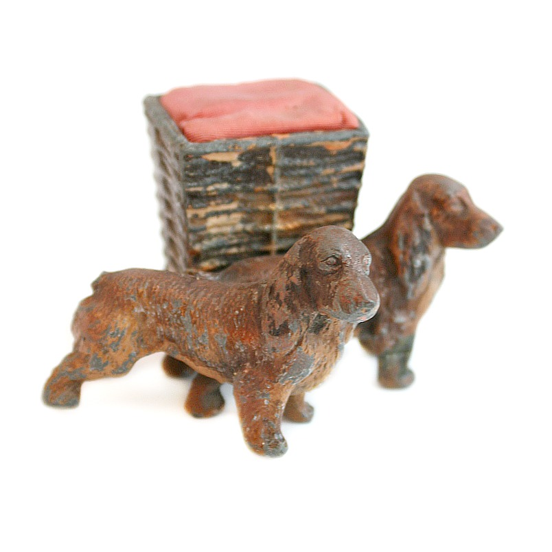 Antique Austrian Cold Painted Spaniel Dogs Pin Cushion