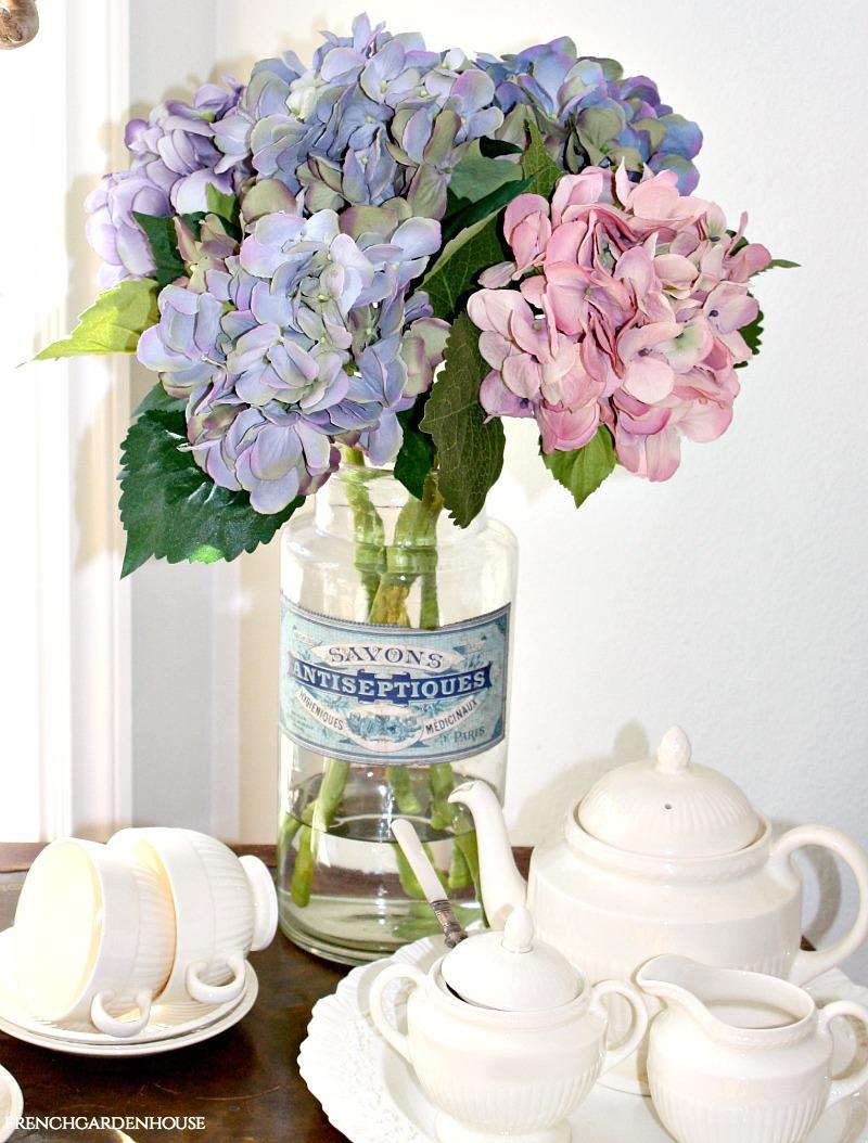 French Apothecary Jar Vase Blue Paper Label Savon