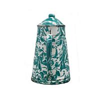 Aqua Blue Green Swirl Enameled Coffee Pot