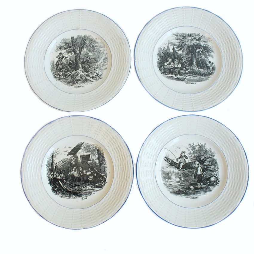 19th Century French Assiettes Blue and White Set of 4