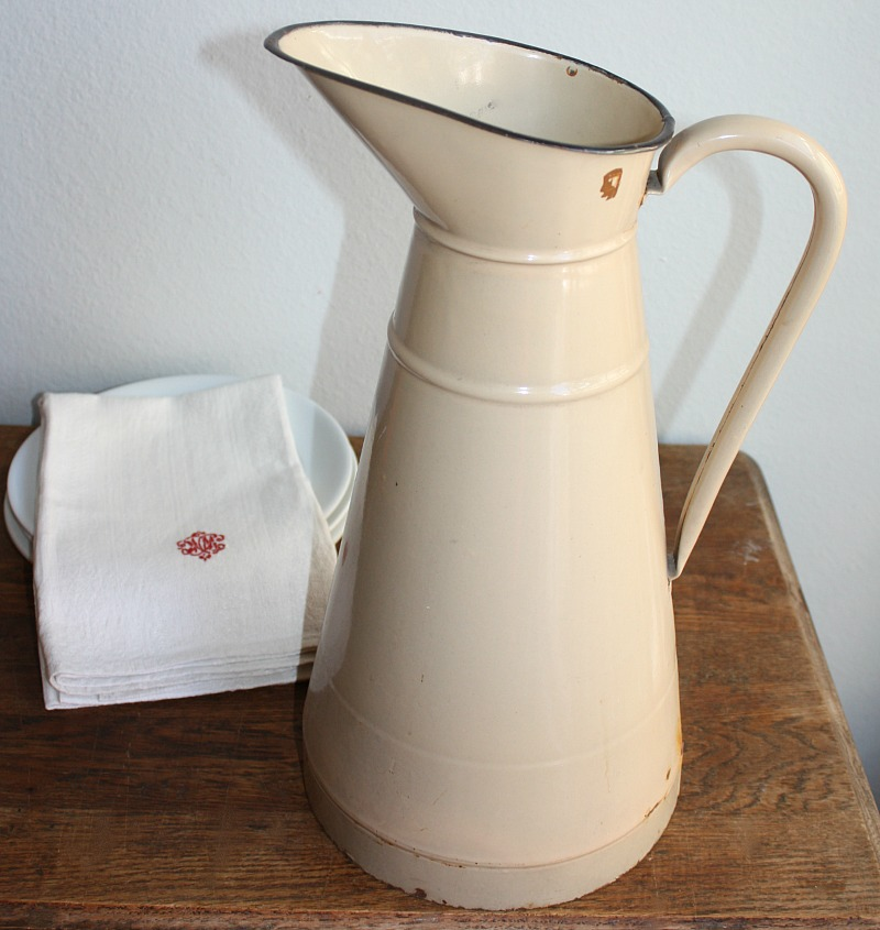 Antique French Enamelware Large Pitcher Cafe