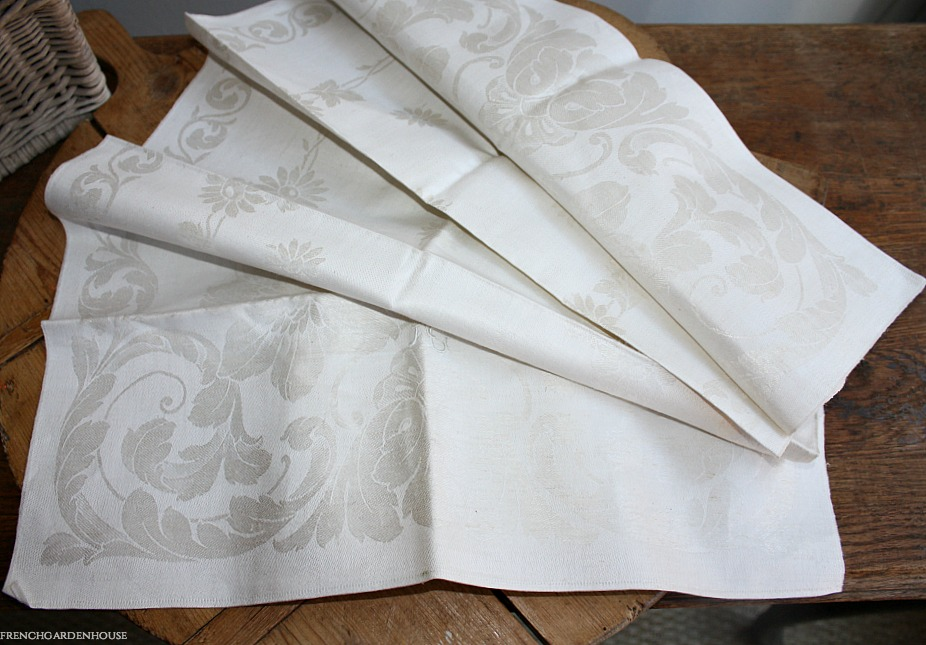 Antique French Cream Floral Damask Tea Towel H C