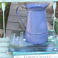 Antique French Country Enamel Milk Pitcher Blue