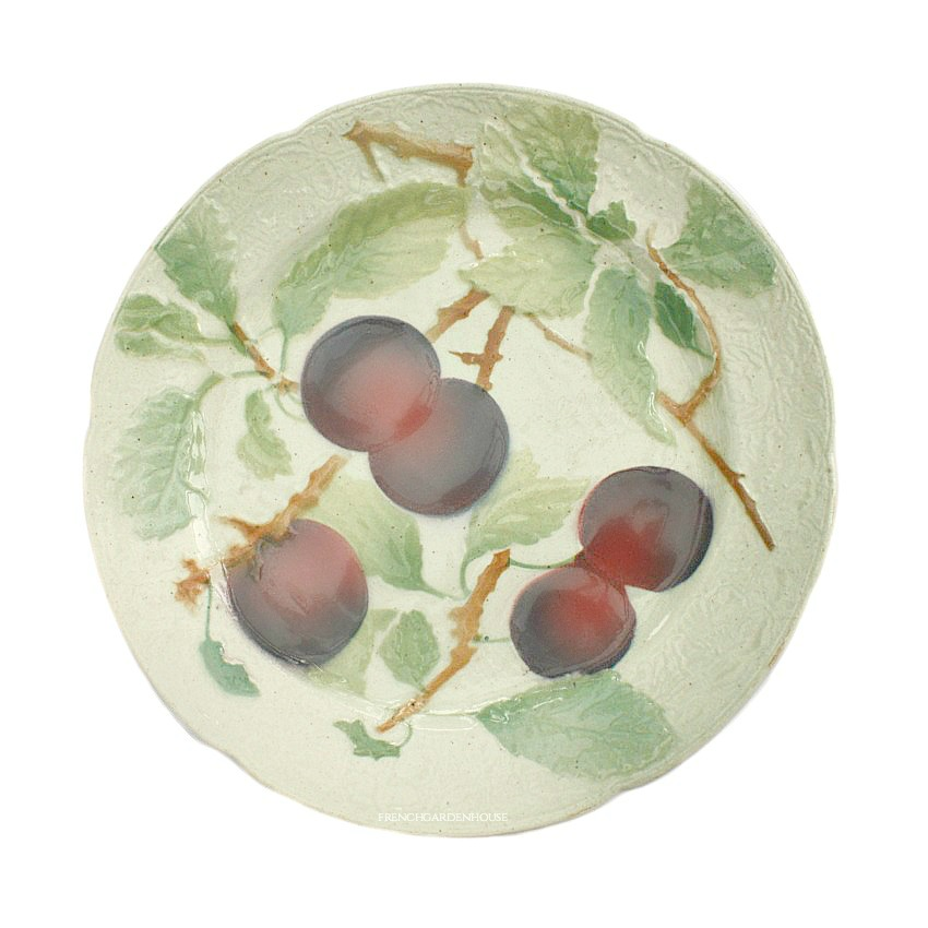 Antique French Faience Majolica Fruit Plate Purple Plum