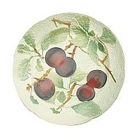 Antique French Faience Majolica Fruit Plates Purple Plum Set 4
