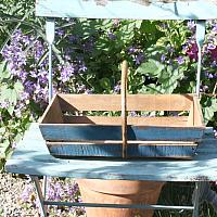 French Country Wood Painted Blue Gardening Basket