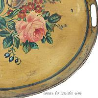 Antique French Hand Painted Tole Peinte Roses Tray