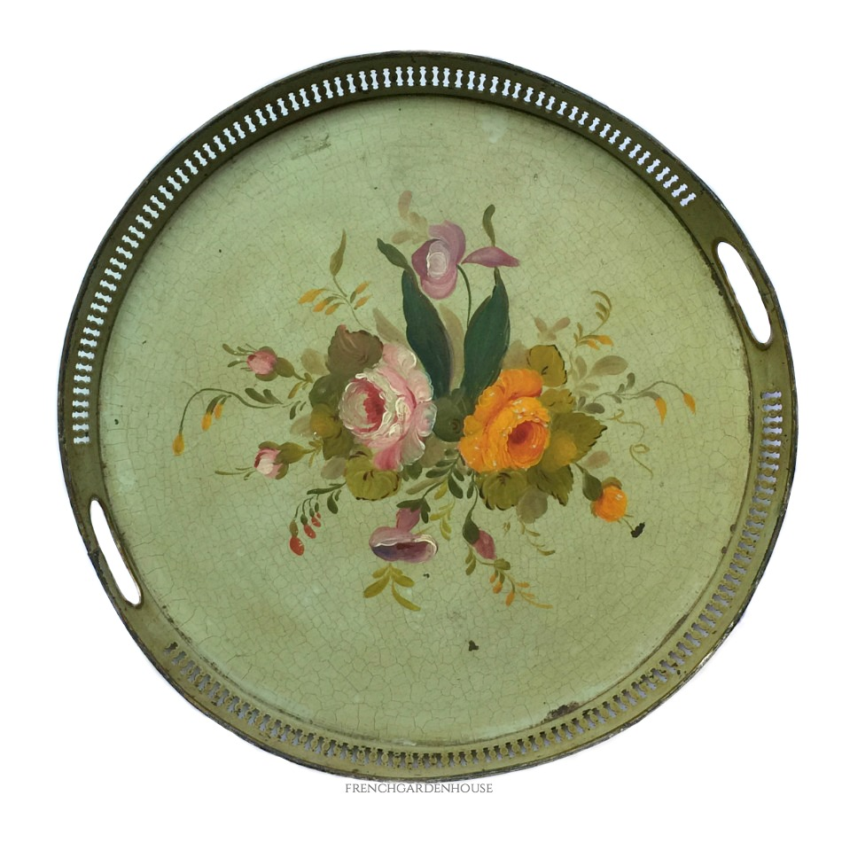 19th Century French Paris Green Tole Peinte Round Tray