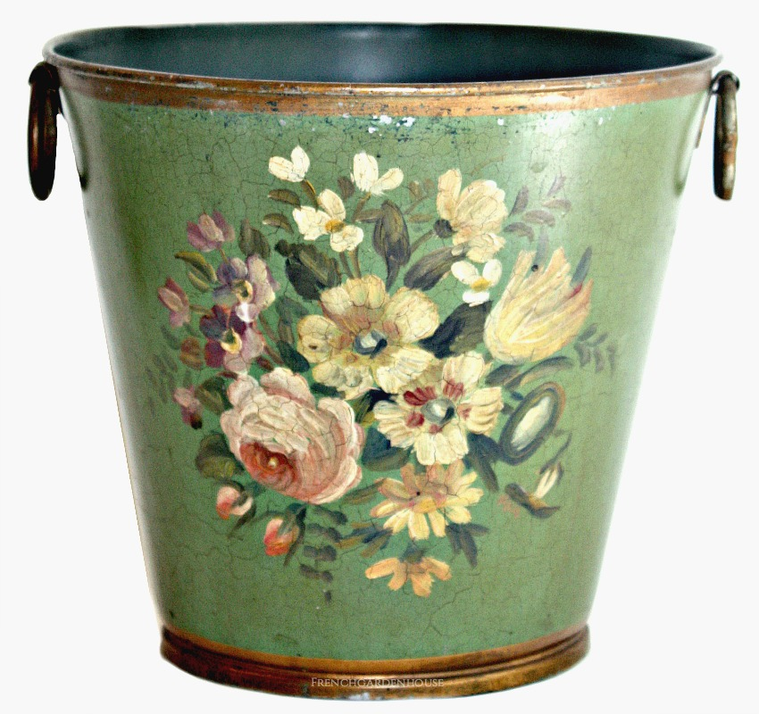 French Hand Painted Tole Jardiniere Green