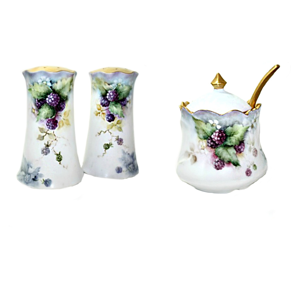 Antique Hand Painted French Porcelain Purple Berries Mustard - Salt & Pepper Set
