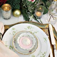 Antique French Haviland Limoges Green Harrison Rose Set of 6 Placesettings
