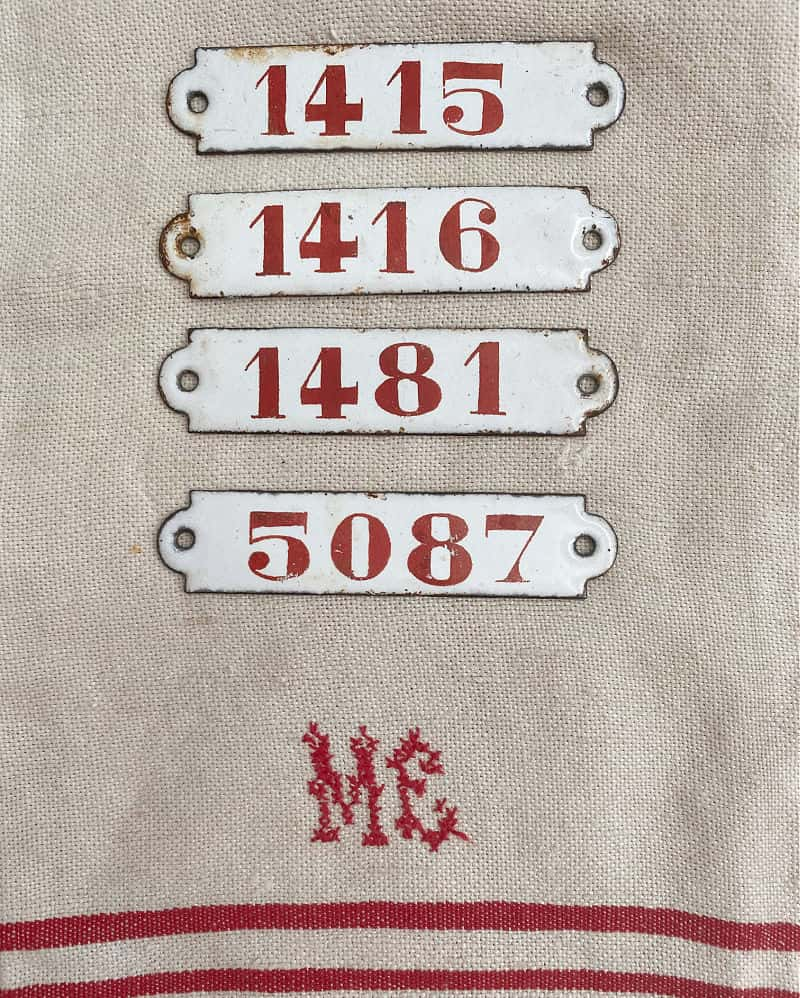 Antique French Red & White Enameled Hotel Door Number Plaque