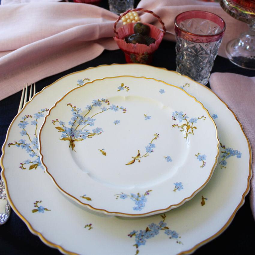 Haviland Limoges Forget Me Not Plates for 4