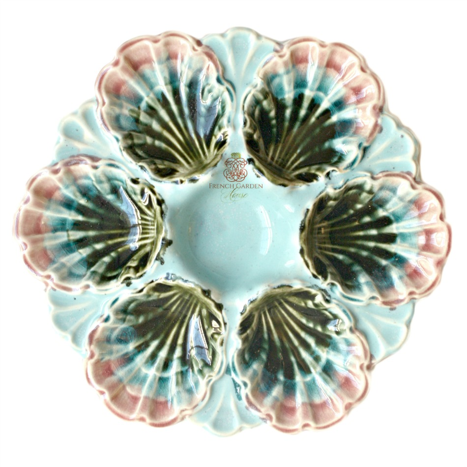 19th Century French Majolica Oyster Plate Fives Lille Pink & Aqua