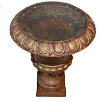 Antique French Estate Cast Iron Medici Urn Single Red Gold