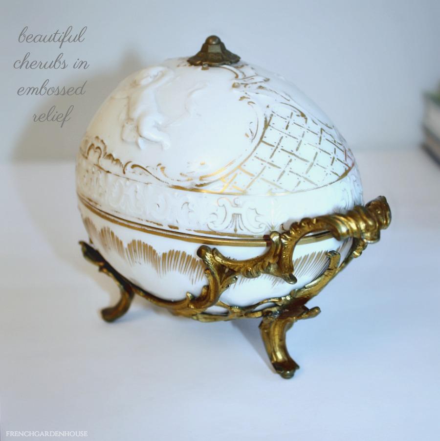 Antique Bisque Porcelain Cherub BonBon Server