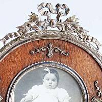 Petite Round Antique French Gilt Bronze Picture Frame  with Bow Filigree