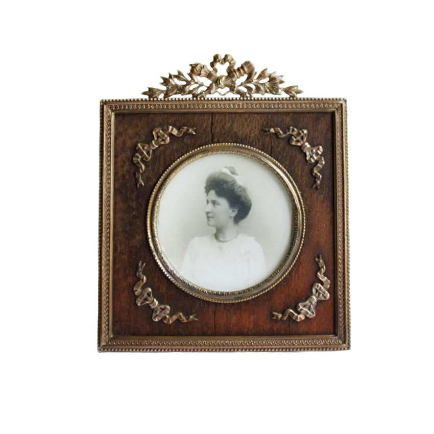 Petite Antique French Gilt Bronze Picture Frame  with Bow Filigree