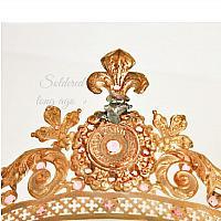 Antique French Tiara Crown Napoleon III Fleur de Lis Pink Rhinestones Virgin Santos Crown