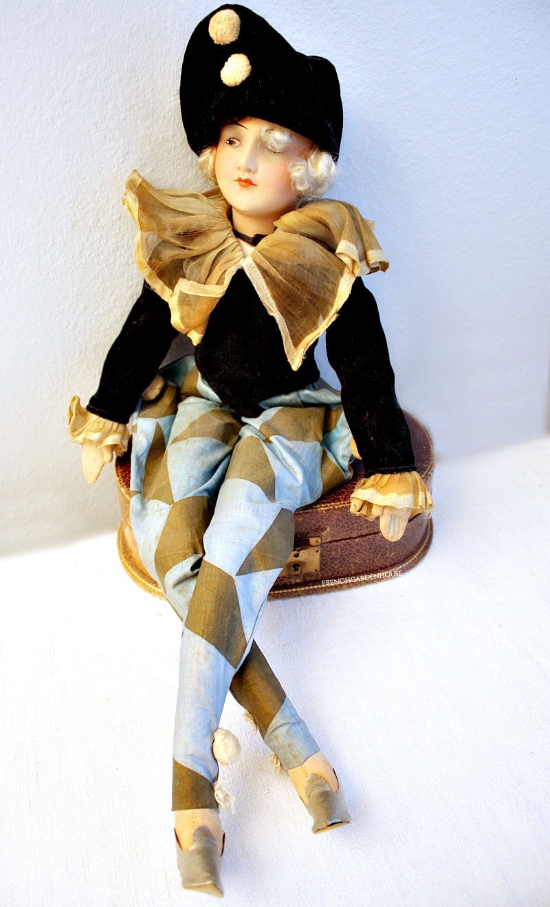 Original French Poupee de Boudoir Doll Pierette Polichinelle Paris