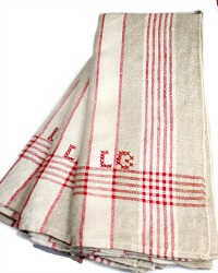 Antique French Linen Towel Red and Natural Monogram L G