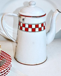 Antique Shabby French Red & White Checked Coffee Pot