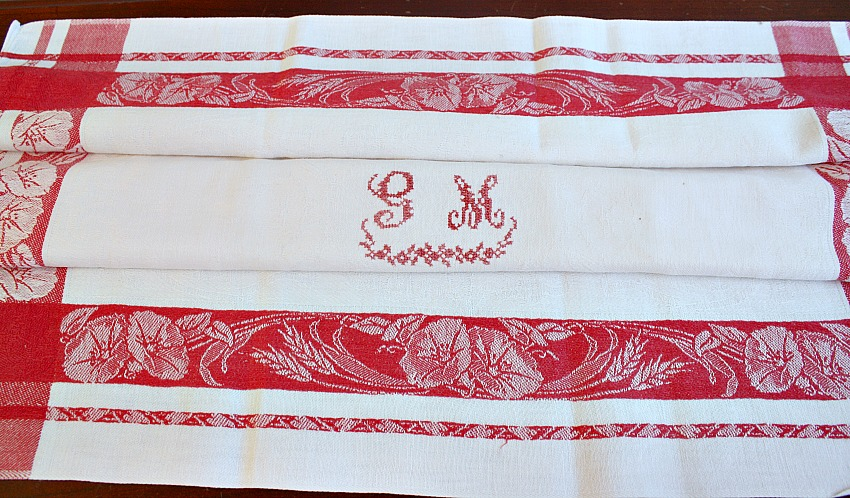 Antique French Damask Floral Red and White Napkin Morning Glory