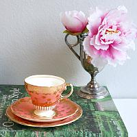 Vintage Pink Apricot Tea Cup an Dessert Plate Trio