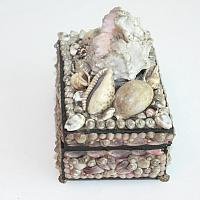 19th Century French Pink and Black Shell Work Box with Mirror