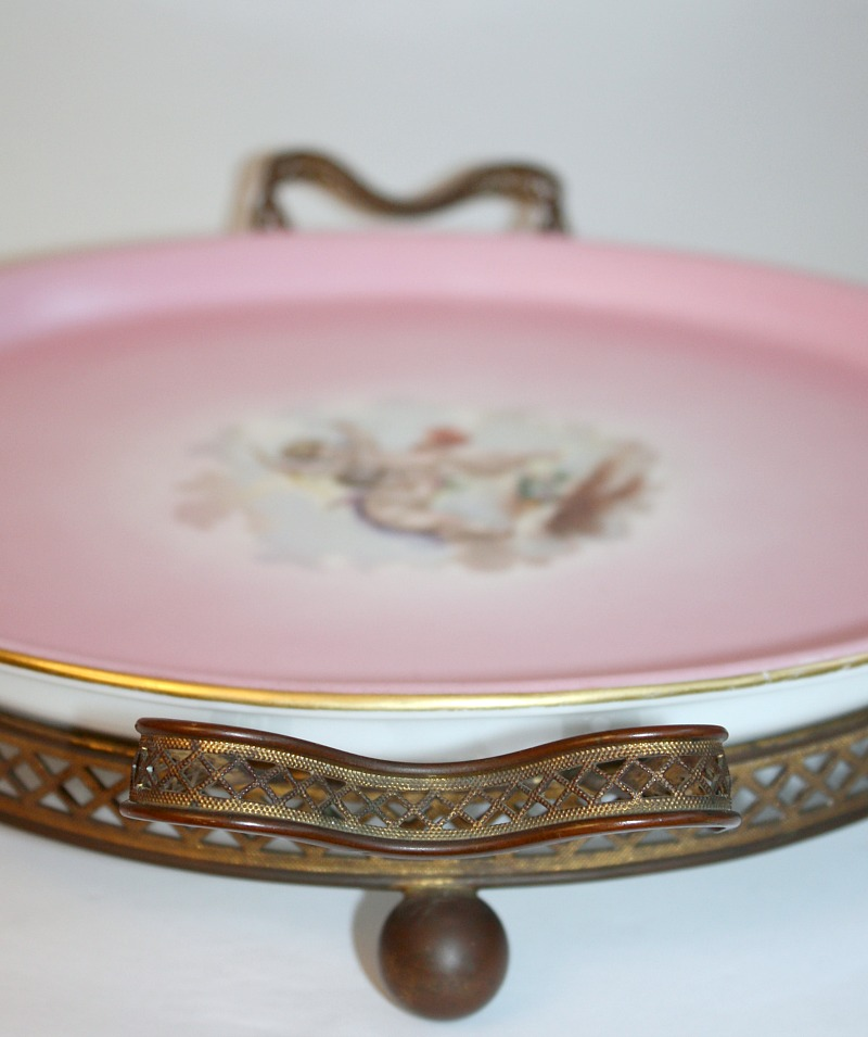 Antique French Pink Porcelain Mounted Plateau Tray Cherubs