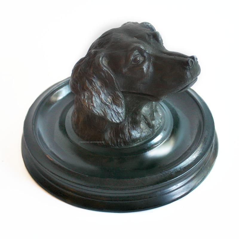 Antique 19th Century Dog Inkwell