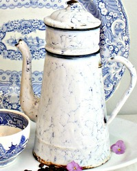 Antique French Enameled Blue & White Coffee Biggin