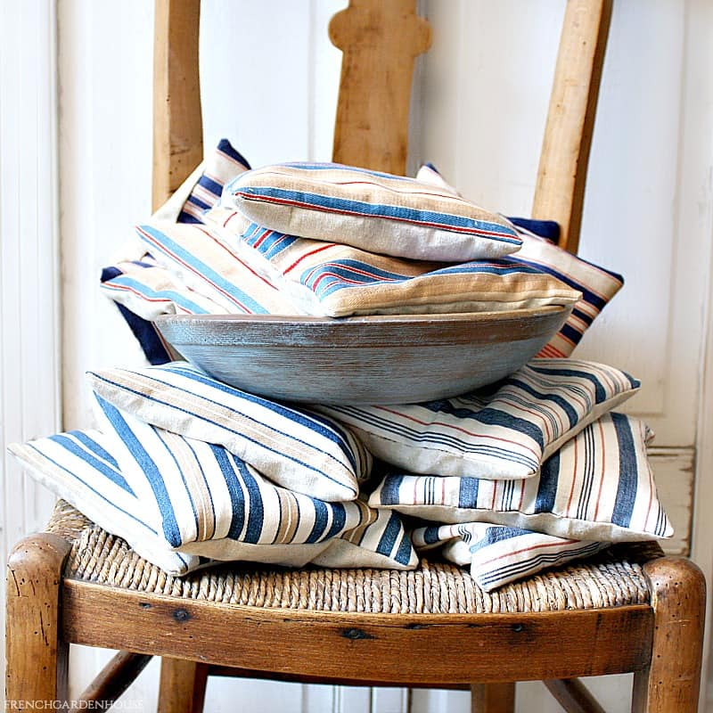 Antique French Ticking Lavender Sachet Light Blue Stripe