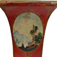 Antique French Directoire Style Tole Peinte Cache Pot