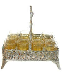 Antique French Aperitif Set of Glasses and Holder