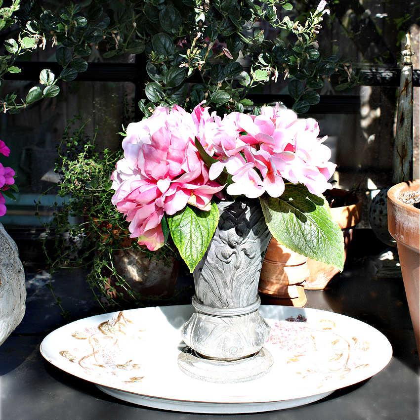 Antique French Zinc Art Nouveau Floral Vase