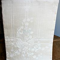 Antique French Cream Floral Damask Tea Towel Lily of the Valley