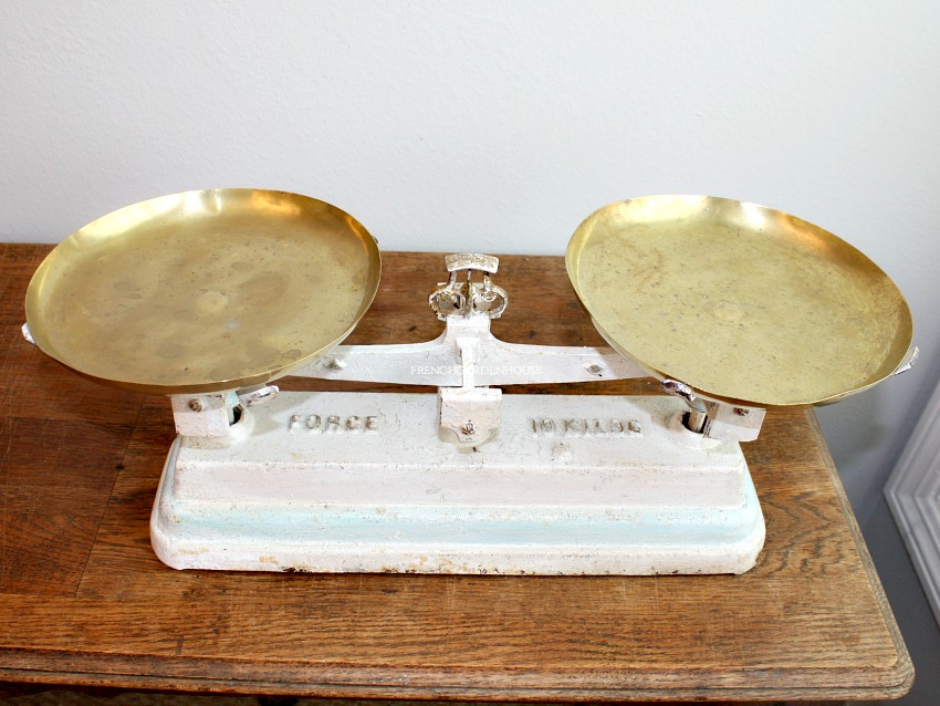 Antique French White and Aqua Blue Bakery Scale