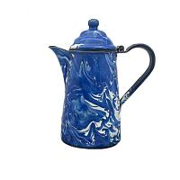 Antique Blue and White Enameled Swirl Coffee Pot