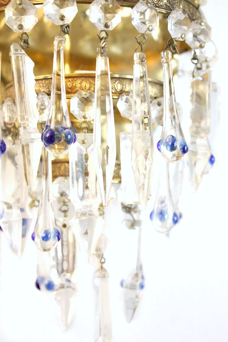 French Crystal Prisms Empire Sconces with Blue Crystal Drops