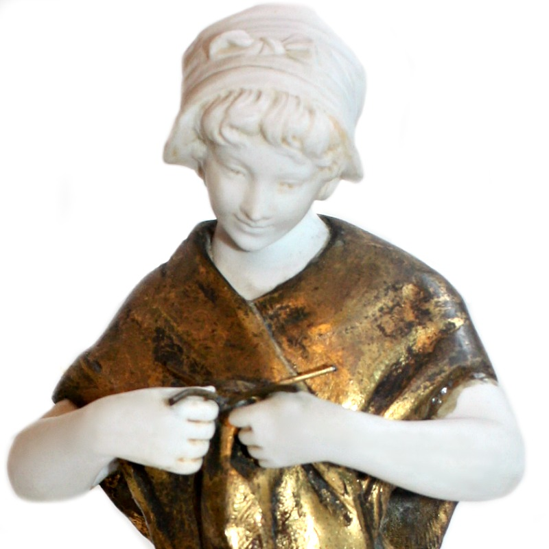 French Sculpture Shepherdess Bisque & Patina Metal