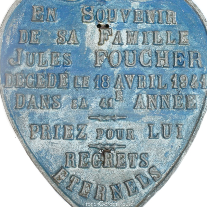 Rare Large French Memorial Burial Plaque Shield & Cross