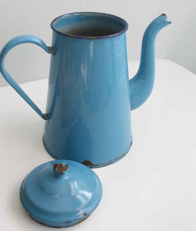 Vintage French Enameled Bright Blue Coffee Pot